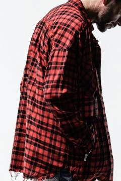 over gown shirts / オーバーサイズ チェックシャツ / レッド